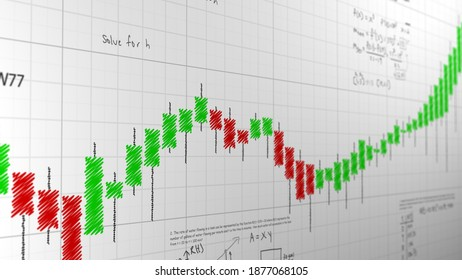 Financial graph scribbled candles, rising and lowering charts