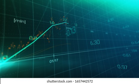 Financial graph showing statistics, prices falling, stock market crash, crisis, inflation rate. Electronic chart with stock market fluctuations abstract concept.