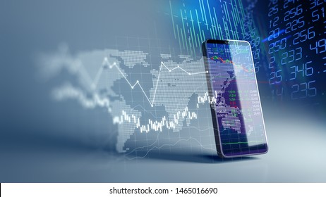 financial graph and technology element on mobile phone 3d rendering  represent Blockchain 