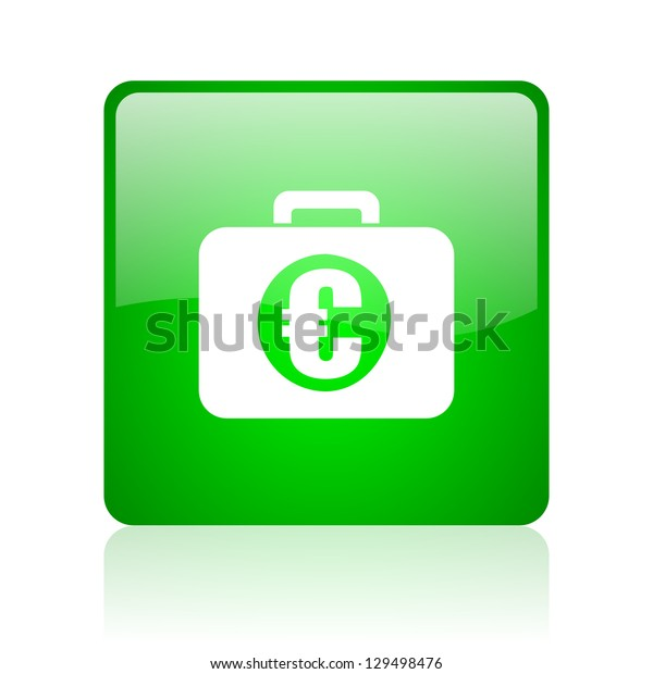 financial green square web icon on white background