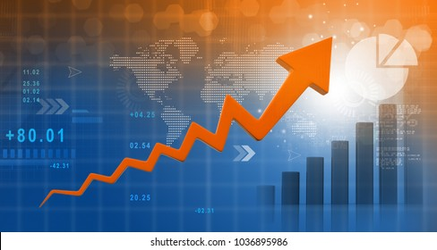 Financial growth chart. 3d illustration