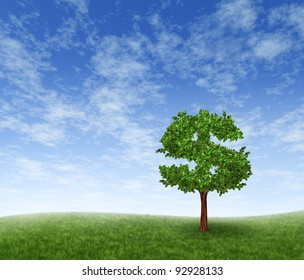 Financial growth and success on a green summer natural green grass landscape with a single tree in the shape of a dollar sign showing a business concept of growing prosperity and investments.