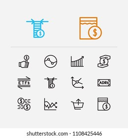 Financial icons set. Stock sector and financial icons with volatility, sell and moving average. Set of savings for web app logo UI design.