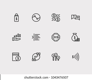 Financial icons set. Yield and financial icons with ask, dividend and capitalization. Set of elements including sale for web app logo UI design.