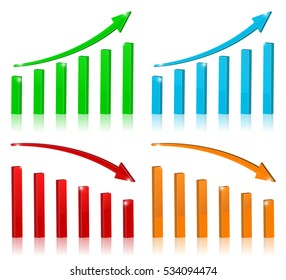 Financial indication arrows. Rising and falling statistic graphic. 3d illustration isolated on white background.
