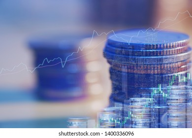Financial investment concept, Double exposure of city night and stack of coins for finance investor, Forex trading candlestick chart economic , ECN Digital economy, the best.