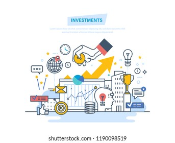 Financial investments, marketing, analysis, security of deposits, guarantee of security financial savings and money turnover. Investment in innovation. Illustration thin line design of doodles.