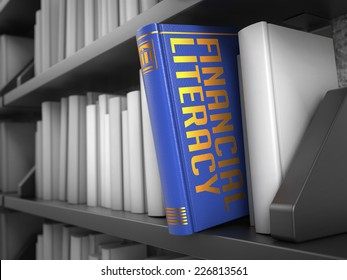 Financial Literacy  - Blue Book on the Black Bookshelf between white ones.
