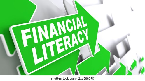 Financial Literacy Green Arrows with Slogan on a Grey Background Indicate the Direction.