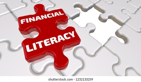 Financial literacy. The inscription on the missing element of the puzzle. Folded white puzzles elements and one red with word FINANCIAL LITERACY. 3D Illustration