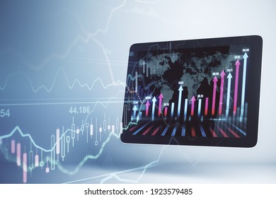 Financial market analysis concept with digital tablet and forex graphs on display and transparent screen with financial chart diagram. Double exposure. 3D rendering
