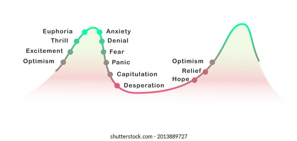 Financial markets psycology cycle stages of emotions, from optimism to panic selling. Euphoria to capitulation.