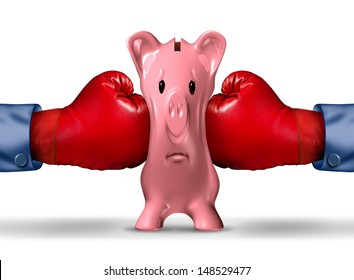 Financial money pressure and money crunch business concept as two red boxing gloves putting the squeeze on a pink piggy bank under a finance crisis pressure as an icon of savings and budget problems.