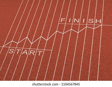 Financial planning and business plan as a track and field with a finance profit chart as an economic wealth strategy in a 3D illustration style.