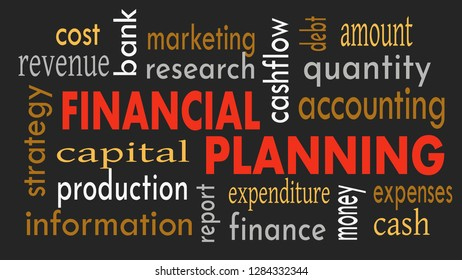 Financial planning, word cloud concept on dark background. Illustration