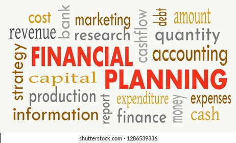 Financial planning, word cloud concept on white background. Illustration