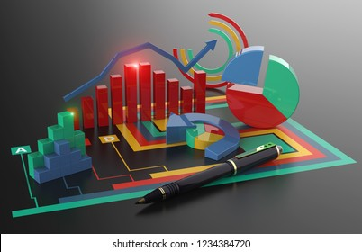 Financial report accounting, business planning, economic budget and taxes 3D illustration