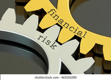 Financial Risk concept on the gearwheels, 3D rendering