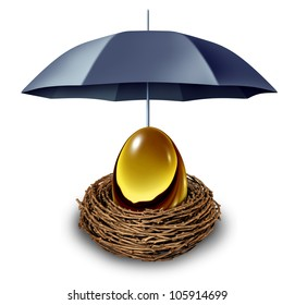 Financial security and retirement fund symbol with a golden egg in a nest protected by a black umbrella against down turns in the economy and as a tax shelter on a white background.