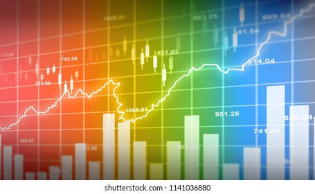 Financial stock market  graph. Digital illustration