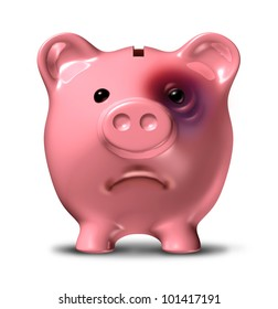 Financial stress and debt crisis as a bad investment business concept with a pink piggy bank with a painful black eye as an icon of broken home finances and budget problems due to the recession.