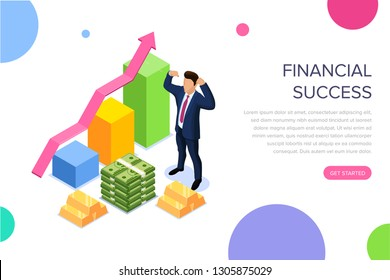 Financial success concept with characters. Can use for web banner, infographics, hero images. Flat isometric illustration isolated on white background.