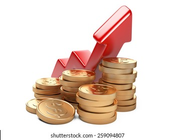 Financial success concept. Red arrow up and coins growth chart isolated on white background