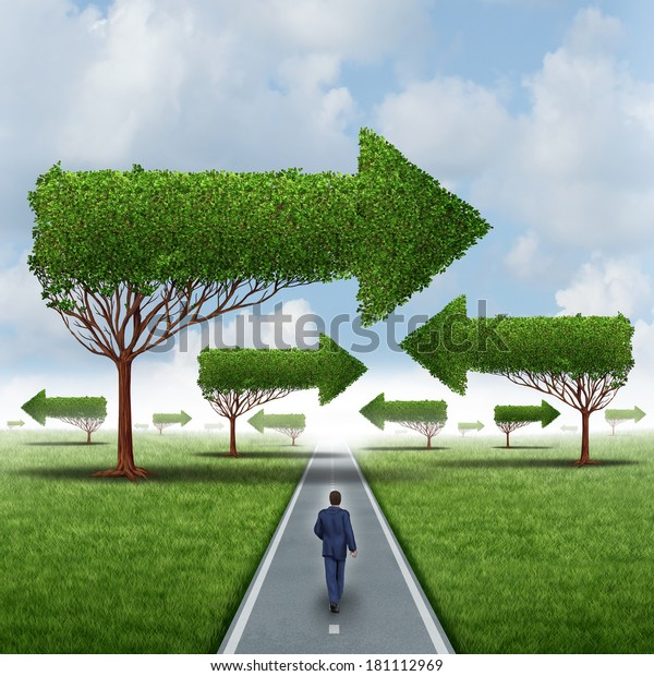 Financial success direction as a businessman walking around a group of confusing arrow trees on a straight focused path to opportunity as a business metaphor for leadership solution challenges.
