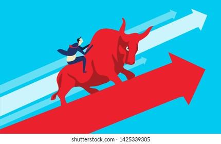 Financial success growth concept illustration, share trading, stock market, business success business growth, business man with bull, red bull, up arrow, economical success, landscape