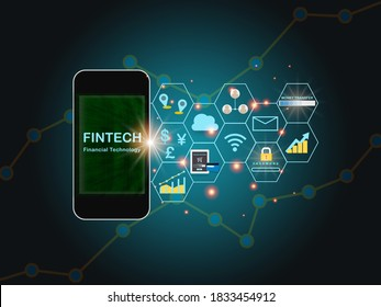 Financial technology words on smart phone screen with fintech theme background. Investment technology concept and internet of thing idea