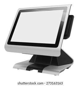 Financial terminal with touch screen isolated on white background. Side view