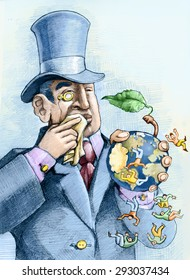 a financier eating an apple that is a world and the people who live above fall