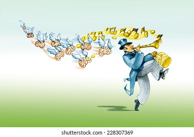 a financier like the Pied Piper brings with him to imprison the minds political cartoon humor draw metaphor of brain escape