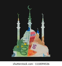 Financing and funding of islamic mosque for muslims. Sacral place of worhsip and money as financial fund to build ans sponsor sacral and religios architecture for worshippers