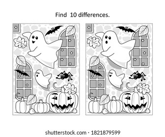 Find 10 differences visual puzzle and coloring page with Halloween ghosts playing in old castle interior