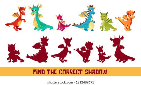 Find correct shadow kid puzzle illustration. Cartoon children quiz game to match shadow shape of funny cute dragon monsters, logical solution game for kids game design template