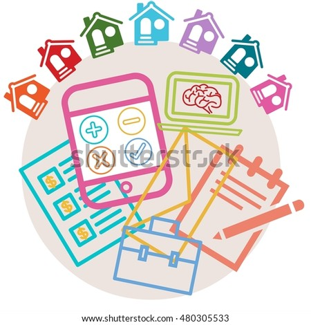 find house buy rent calculator concept stock illustration 480305533