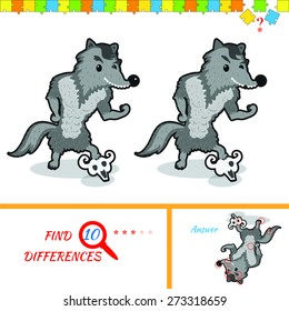 Find ten differences between the two pictures. Cartoon wolf character. Colorful rebus for kid on isolated background. Wolf. Puzzle for kids.