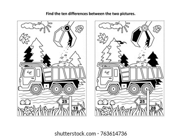 Find the ten differences picture puzzle and coloring page with working tip truck and hopper.