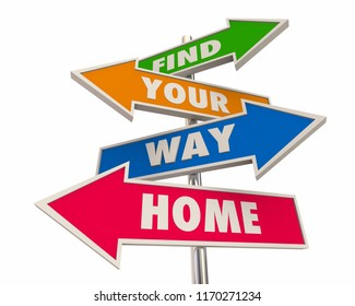 Find Your Way Home Back to Start Homecoming Arrow Signs 3d Illustration