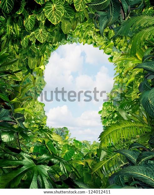 Entdecken Sie den Weg aus der dunklen Gefahr des Dschungels der Unsicherheit und Verwirrung mit Regenwaldpflanzen in Form eines menschlichen Kopfes, der zu einem offenen Himmel der Freiheit führt.
