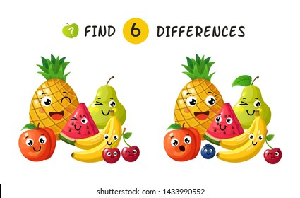 Finding differences. Children game with happy cartoon fruits. illustration for kids book. Fruit apple and pineapple, plum and banana, berry and pear