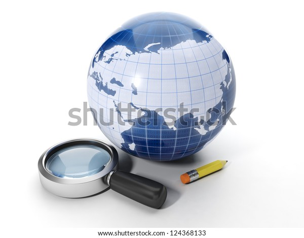Finding information on the Internet. Earth and magnifying glass with a pencil