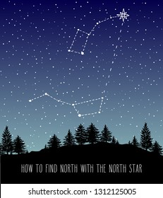 Finding North star Polaris. Night forest skyline with Ursa Major and Ursa Minor constellations (Little Dipper and Big Dipper). Space and astronomical design illustration.