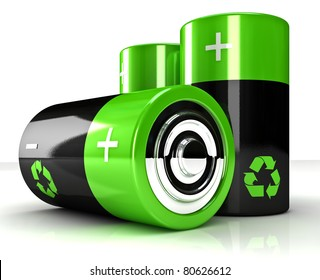 fine 3d image of green eco battery background