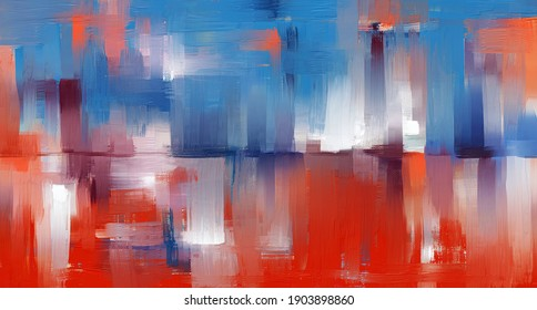Fine art abstraction, oil painting made with rough brush strokes and the palette knife. Good vibe artwork with water reflection, tomato colour and blue, textured background