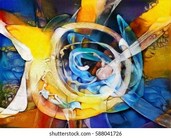 Fine art bright abstraction. Designed in a modern style oil on canvas with elements of pastel painting. Ideal for a gift or interior decoration.