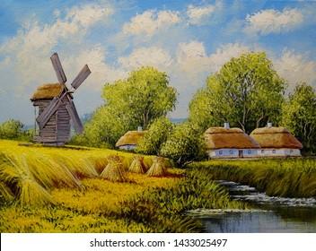 Fine art. Oil paintings rural landscape. Old village.