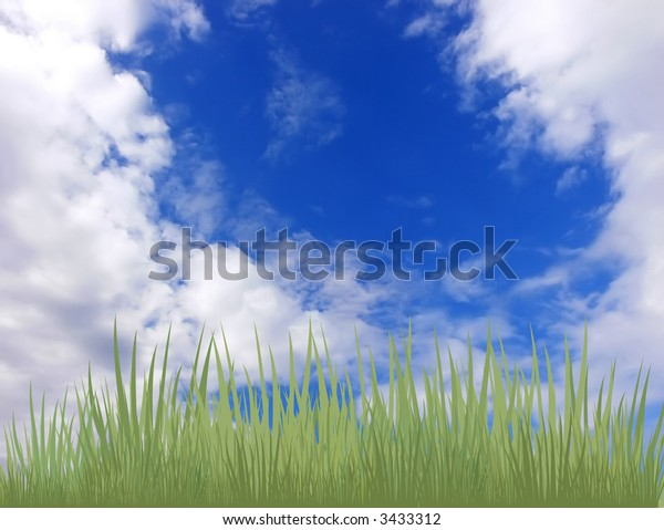 Fine background for a collage. On a picture the green grass on a background of the cloudy summer sky is represented.