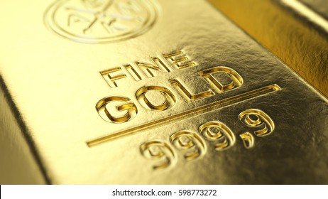 Fine Gold Bar macro - 3d illustration.